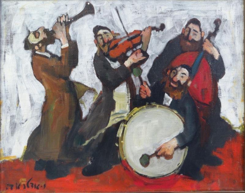 "ADLER, Adolf. Oil on Canvas ""Quartet."""