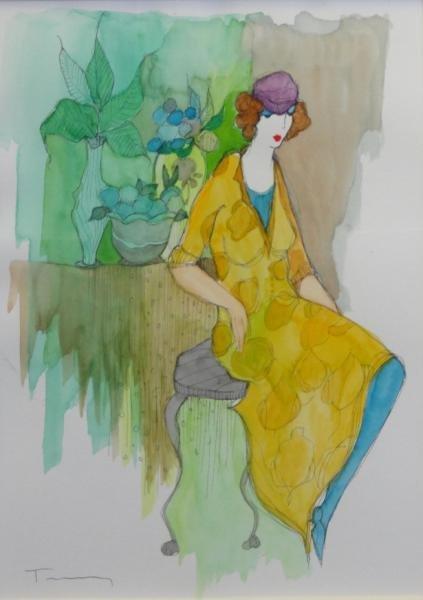 TARKAY, Itzchak. Watercolor & Ink of a Seated