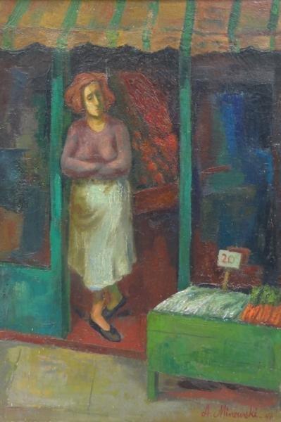 MINEWSKI, Alexander. 1946 Oil/Canvas of Shopkeeper