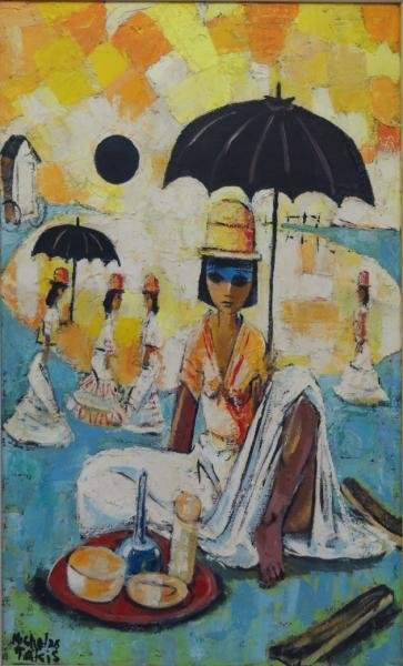 "TAKIS, Nicholas. Oil on Canvas ""Peruvian Playa."""