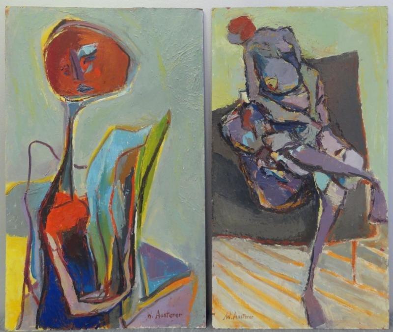 AUSTERER, W. Two 20th C. Modernist Figural Oils