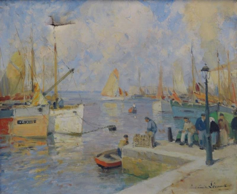 LECOMTE, Paul Emile. Oil on Canvas of Bustling