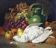 BALE, Charles. Oil on Canvas Still Life with Bird.