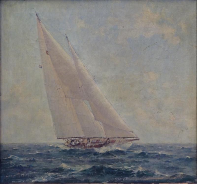 THORSEN, Lars. Oil on Canvas of Sailboat.