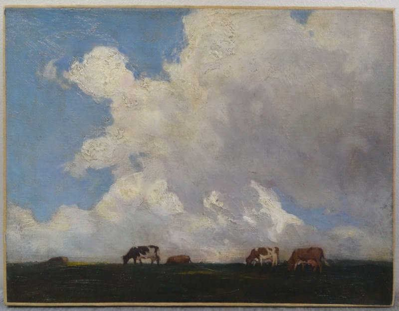 HEIL, Charles Emile. Oil/Canvas of Cows in Pasture
