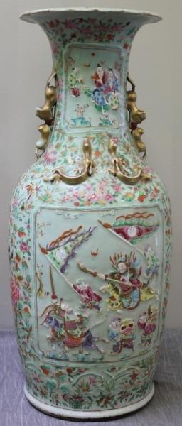 Antique Chinese Famille Rose Floor Vase.