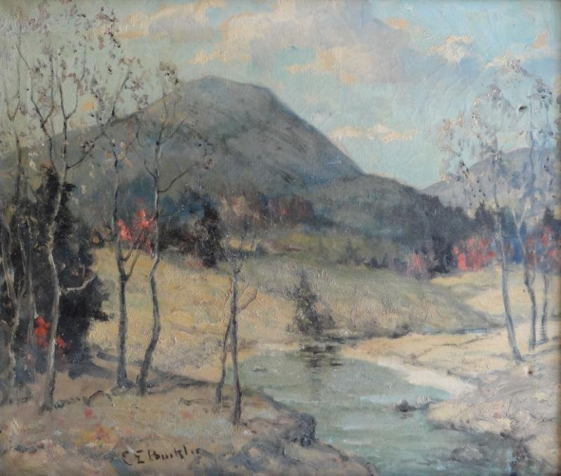 Signed 20th C. Oil on Canvas Winter Landscape.