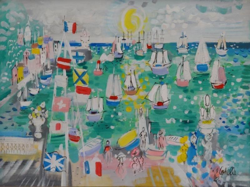 """COBELLE, Charles. Oil on Canvas """"Cote D'Azure."""""""