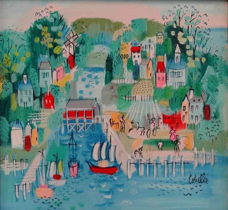 COBELLE, Charles. Oil on Canvas of a Dutch Harbor.
