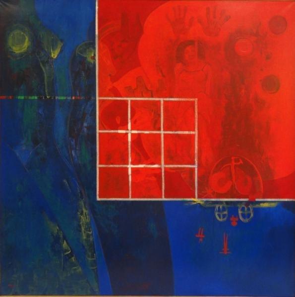 """SANCHEZ, Rolando. Acrylic on Canvas """"Tira Fuego Su"""