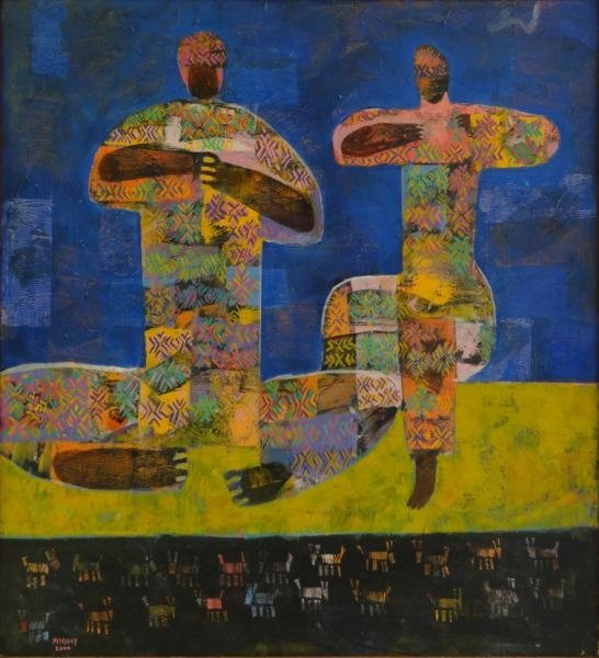 "PISQUIY, Rolando. Oil on Canvas ""Flauteros."""