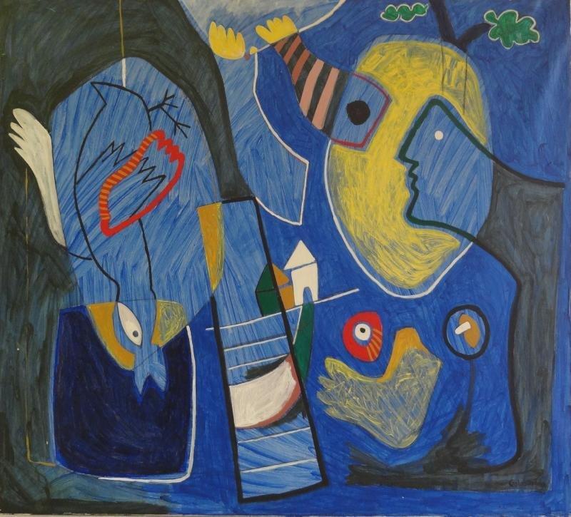 GOLOBART. 20th C. Surrealist Oil on Canvas.