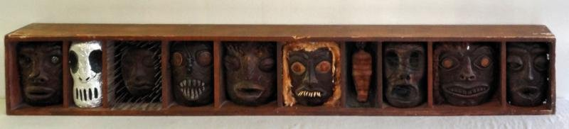 FERRARA, Jackie. Mixed Media Sculpture of Tribal Masks.