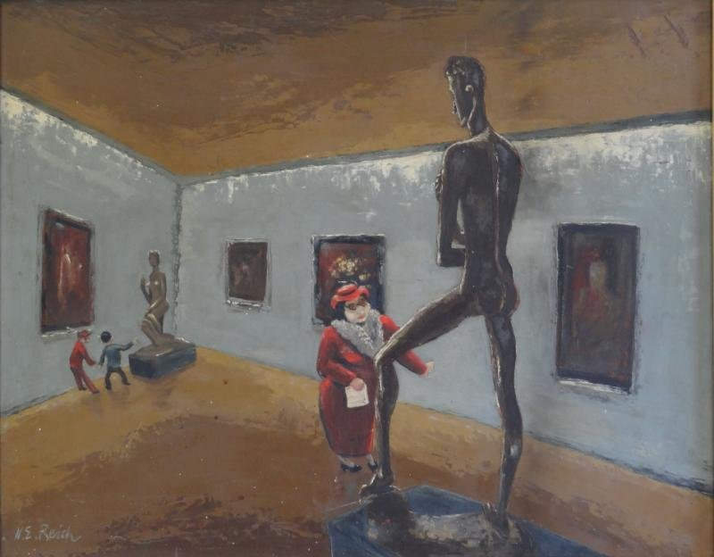 REICH, Nathaniel E. Oil on Masonite of Woman in