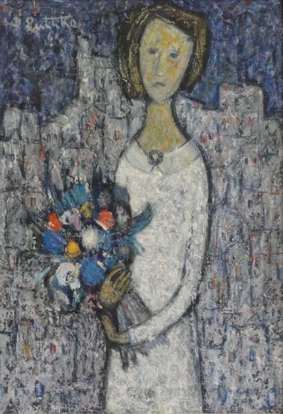 """PULITIKA, Ðuro. Oil on Canvas """"Nevjesta"""" (Bride)."""