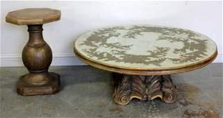 Large Vintage Mirror Top Coffee Table