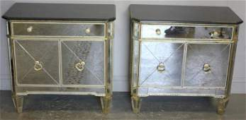 Pair of Contemporary Neoclassic Style Mirrored