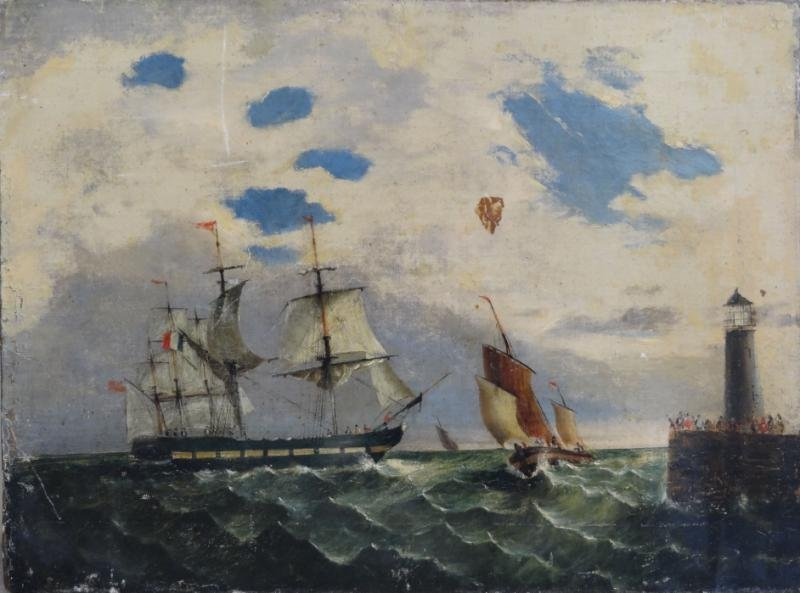 Antique French Nautical Oil on Canvas.
