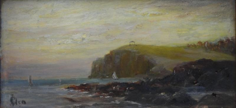 19th Century Oil on Board of a the Maine Coast.