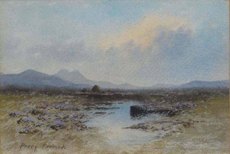 """FRENCH, Percy. Watercolor """"Purple Heather on the"""