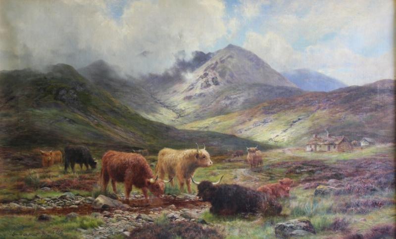 HURT, Louis B. Oil on Canvas of Scottish Highland