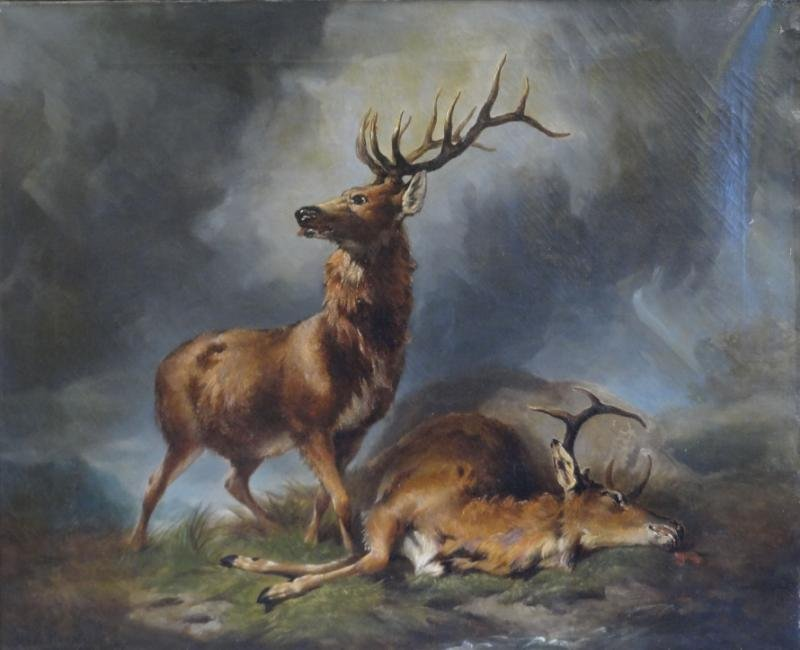 NEWELL, Hugh. 1855 Oil on Canvas of Two Stags.