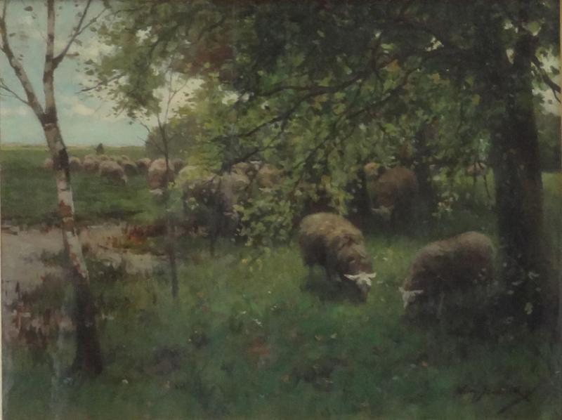 "STEELINK, Willem. Oil on Canvas ""Sheep Under the"