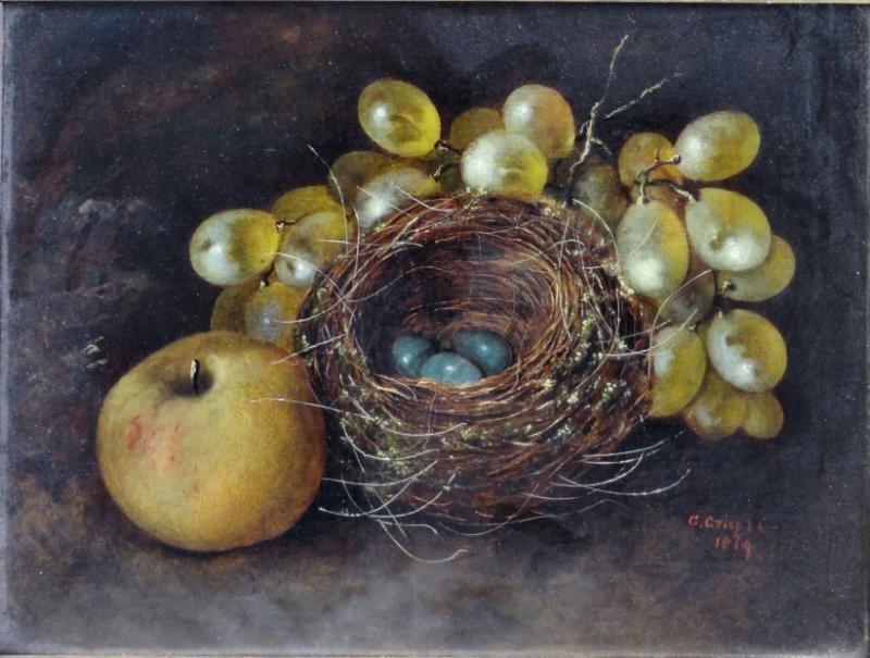 CRISP, George. Oil on Canvas Still Life with Birds