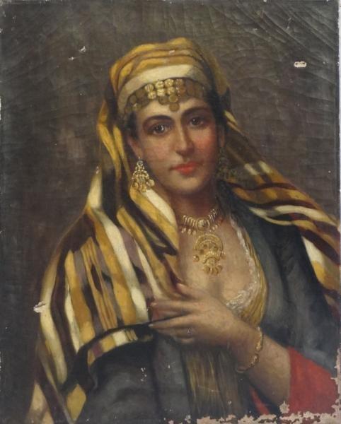 Orientalist Portrait of a Beauty in a Headdress.