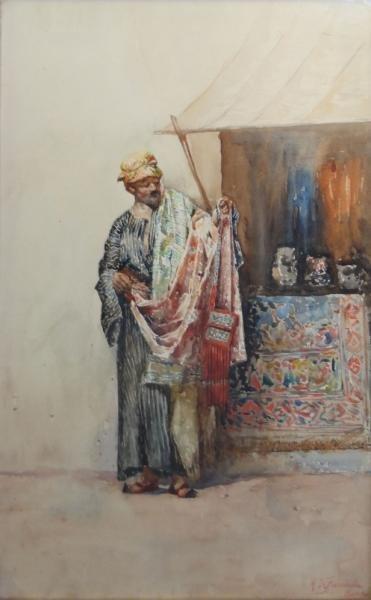 DE FRANCESCHI, Mariano. Watercolor of an