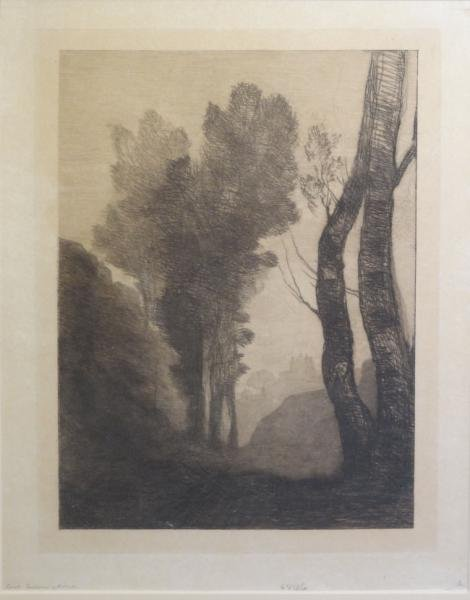 """COROT. Etching and Drypoint. """"Environs de Rome."""""""