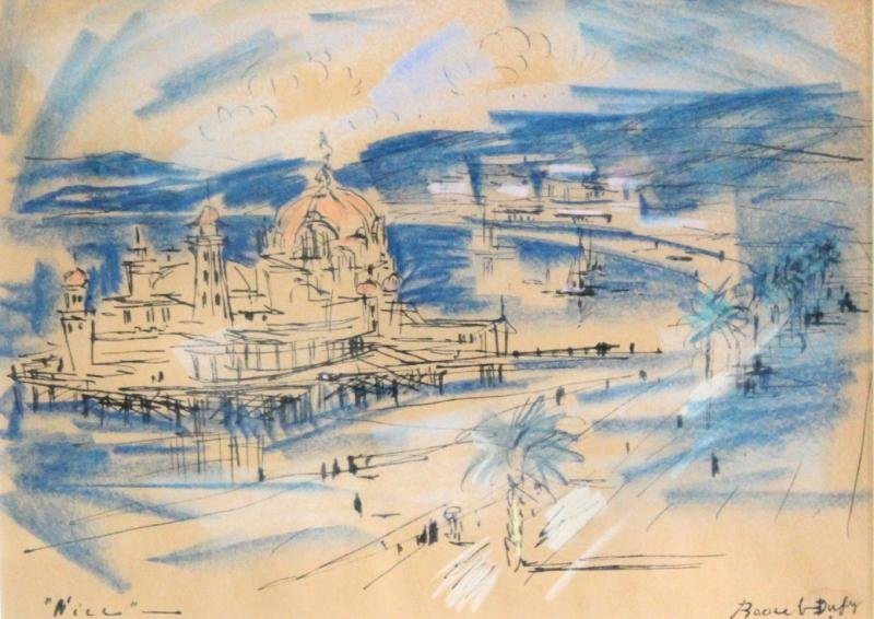 """DUFY, Raoul. Ink & Pastel on Paper. """"Nice."""""""