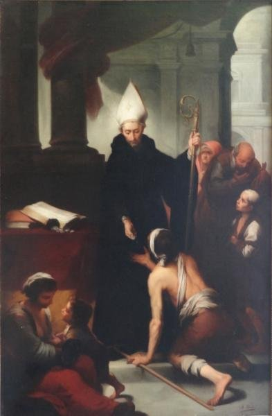 ESTRADA, H. Oil on Canvas of a Bishop with Beggar.