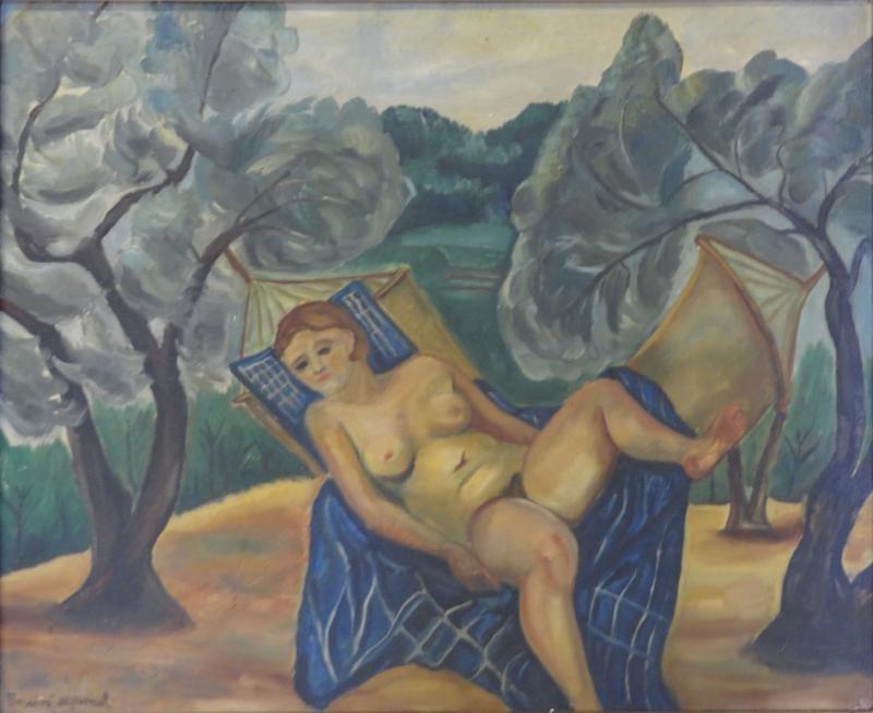 "BOCCINI, Manuel. 1928 Oil on Canvas ""Nude In"