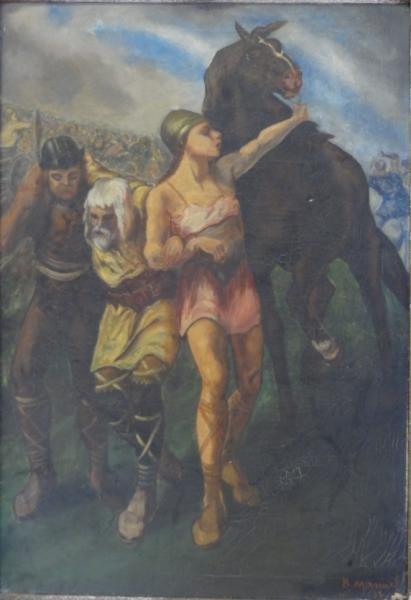 BOCCINI, Manuel. Oil on Canvas After E.V. Luminais