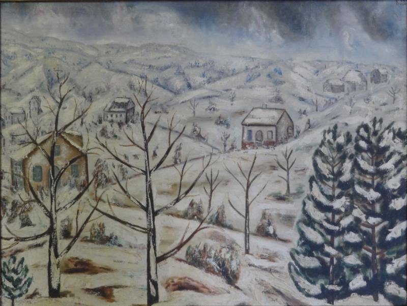 BOCCINI, Manuel. Oil on Canvas Winter Landscape