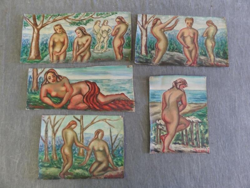 BOCCINI, Manuel. 5 Oils on Canvas of Nudes.