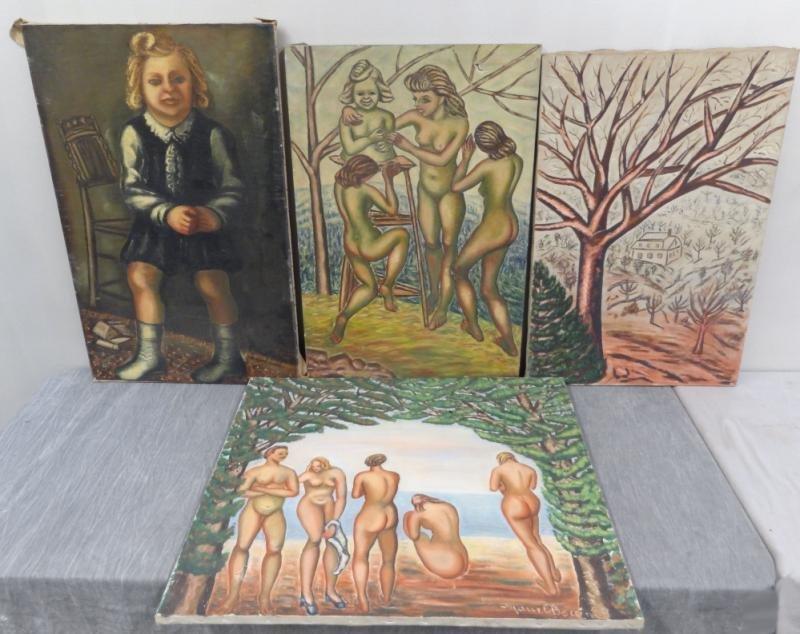 BOCCINI, Manuel. 4 Oils on Canvas.
