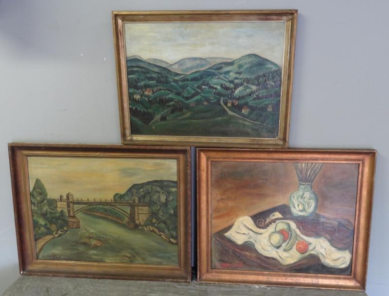 BOCCINI, Manuel. 3 Oils on Canvas. 2 Landscapes &