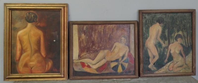 BOCCINI, Manuel. 3 Oils on Canvas of Nudes.