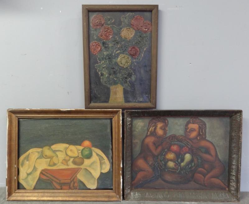 BOCCINI, Manuel. 3 Oils on Canvas. 2 Still Lifes &