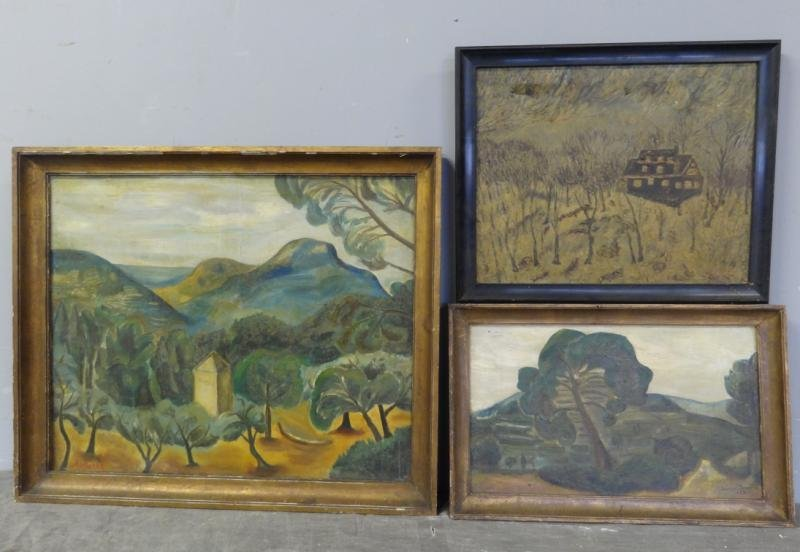 BOCCINI, Manuel. 3 Oil on Canvas Landscapes.