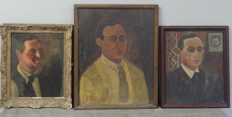 BOCCINI, Manuel. 3 Oil on Canvas Self Portraits.