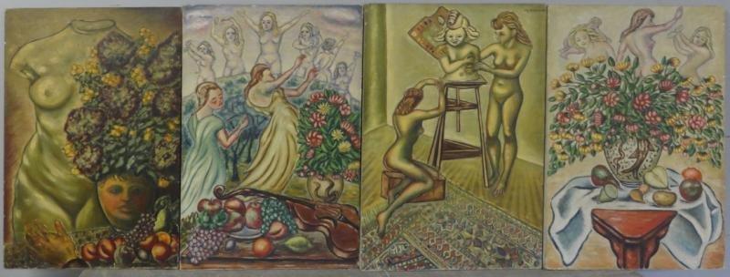 BOCCINI, Manuel. 4 Neoclassical Style Oils on