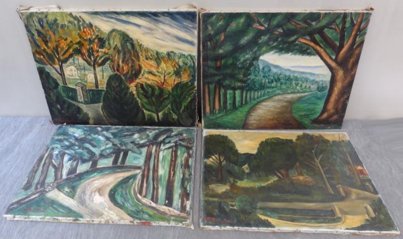 BOCCINI, Manuel. 4 Oil on Canvas Landscapes.
