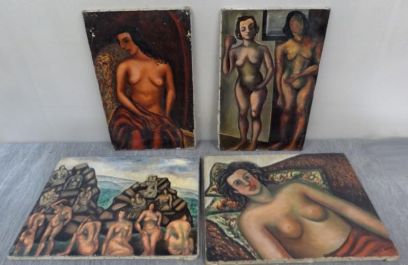 BOCCINI, Manuel. 4 Oils on Canvas of Nudes.