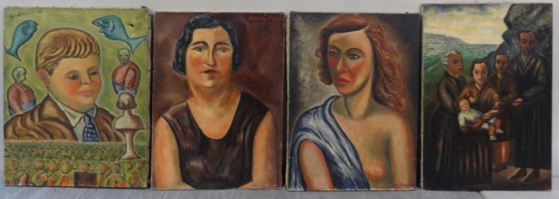 BOCCINI, Manuel. 4 Oil on Canvas Portraits.