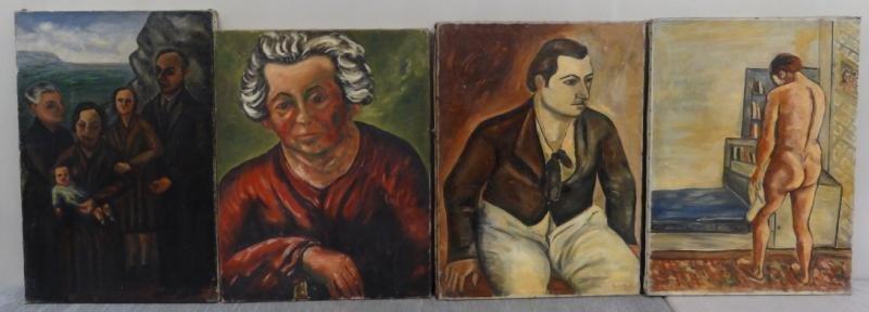 BOCCINI, Manuel. 4 Oils on Canvas of Figures.