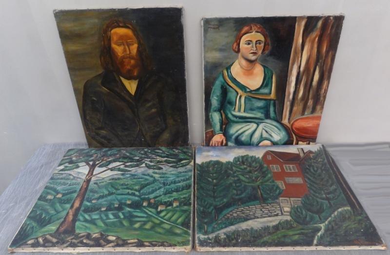 BOCCINI, Manuel. 4 Oils on Canvas. 2 Landscapes &