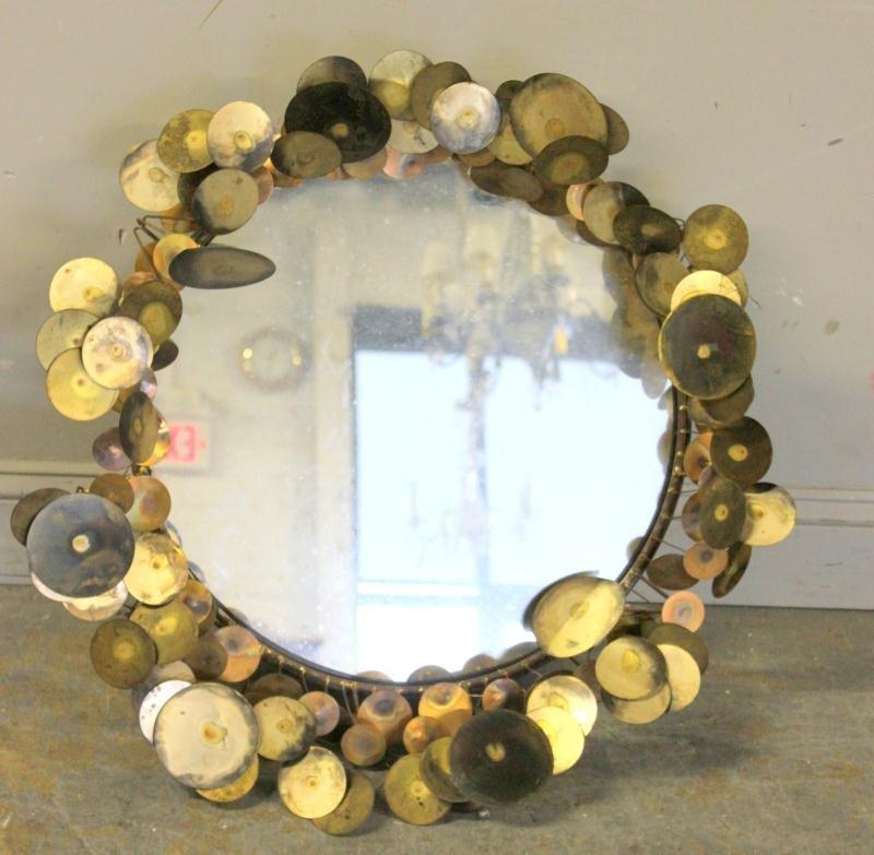 Midcentury Curtis Jere Raindrop Sculpted Mirror.